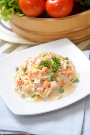 İtalyan mutfağı: Italian cuisine, Pasta carbonara Stok Fotoğraf