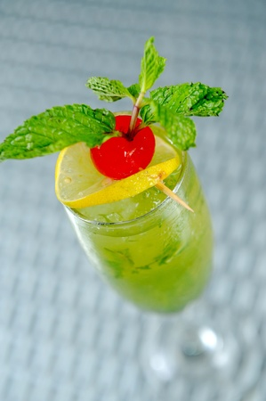 Freshness Cocktail with Mint, Ice and Lime photo