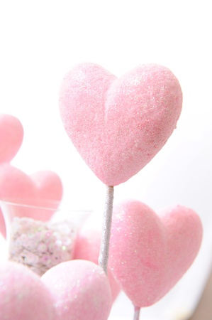 pink heart on white photo