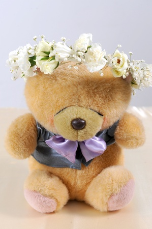 playthings: Cute teddy bear at isolated white background