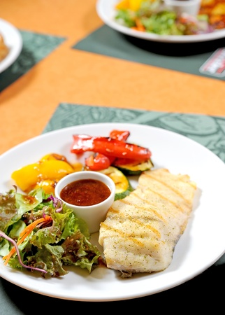 fish steak with Vegetable photo