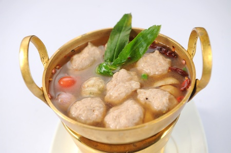 oiled: Soup with meatball isolated on white Stock Photo