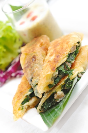 spinage: Puff pastry with a spinach-cheese  Stock Photo