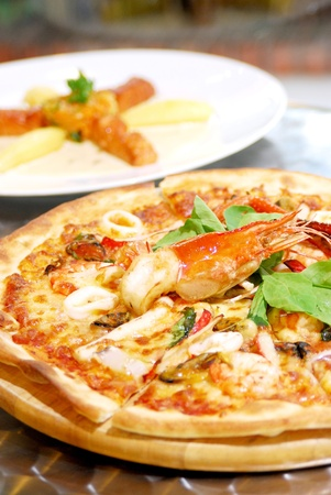 Hot seafood pizza photo