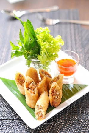 roll: Fried Chinese Traditional Spring rolls food Stock Photo