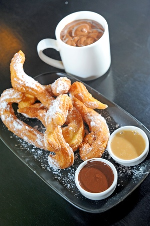 fritter: churros typical Spanish sweet Stock Photo