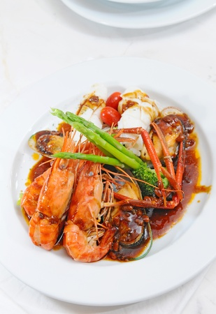 Chinese food - seafood stir-fried  photo