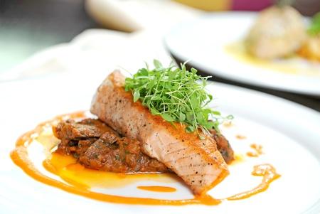 Delicious grilled salmon steak