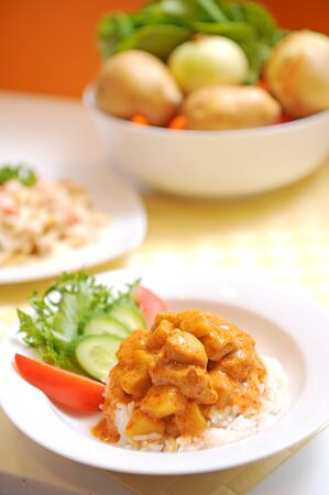 curry chicken: CHICKEN CURRY WITH RICE THAI FOOD Stock Photo