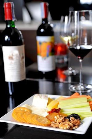 wine and snacks photo