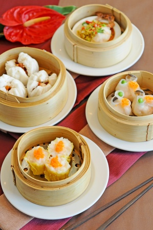 A variety of dim sum in bamboo steam