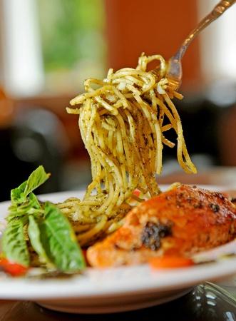 Pasta with salmon photo