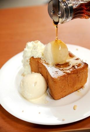 Honey toast with ice cream photo