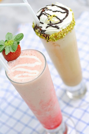 frappe: strawberry frappe and Matcha green tea