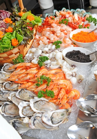 trays: Zeevruchten Stockfoto
