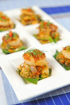 casserole: shells filled with cream cheese and herb