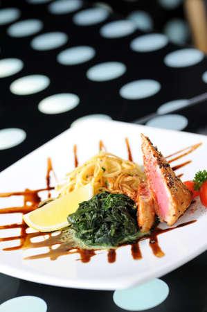 simple meal: fish steak Stock Photo