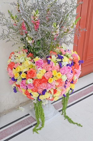 bouquet of beautiful flowers in the vase photo