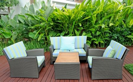 front or back yard: Relaxation place at garden
