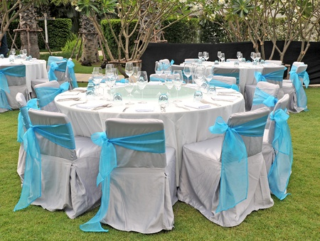 wedding table setting: Wedding chair reception place ready for guests