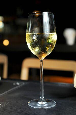 wine testing: glasses with white wine Stock Photo