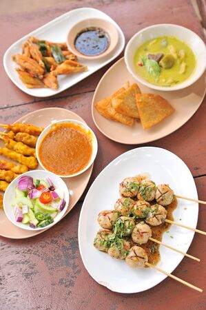 person appetizer: asia food Stock Photo