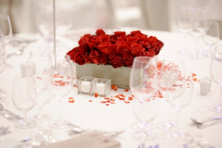 banquet table: Wedding table setting