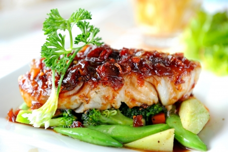 grilled salmon: Fish Steak with vegetables