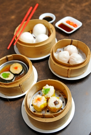 Chinese steamed dimsum in bamboo photo