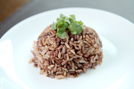 bowl with rice: black rice Stock Photo
