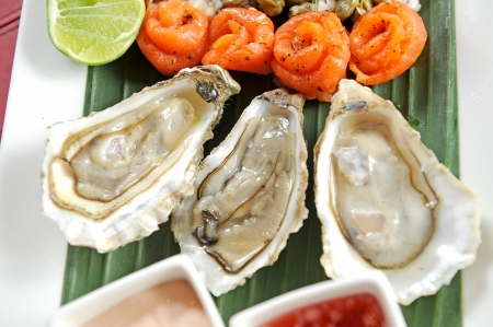 oyster and salmon Stockfoto