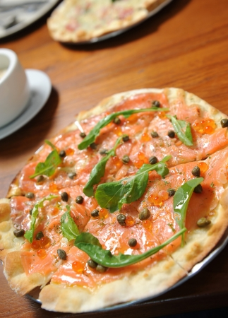 Salmon Slice and pizza Stock Photo - 15414201