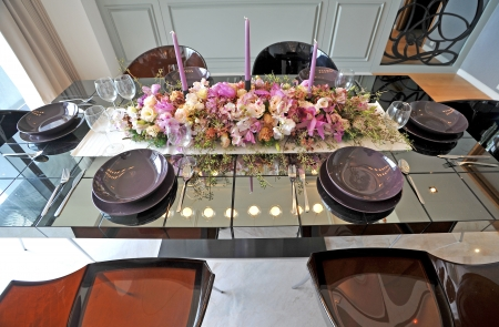 fine silver: catering table set Stock Photo