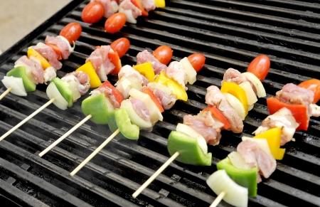 shishkabab: beef on the grill closeup