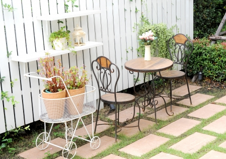 chairs in beautiful garden photo