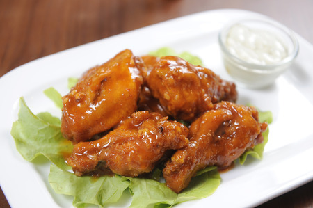 A plate of buffalo chickens  photo