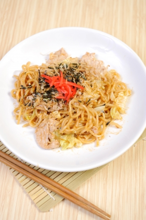 mee pok: yahisoba served on plate  Stock Photo