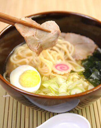 cooked instant noodle: ramen soup