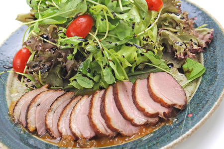 duck appetizer and salad