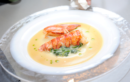 A bowl of creamy delicious lobster