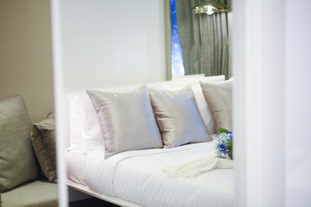 bedroom: luxury bedroom with pillows Stock Photo