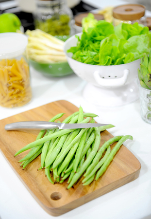 snap bean: fresh green beans Stock Photo