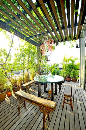wood furniture in garden