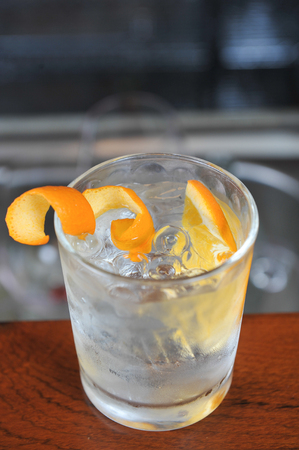 Gin Tonic with orange peel