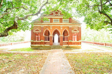 residence: red brick building in a park Stock Photo