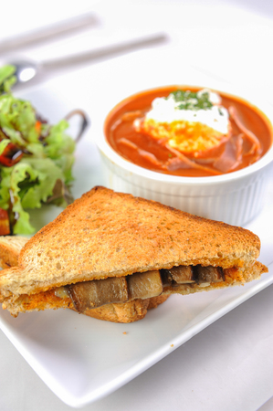 gazpacho: Tomato soup with mushroom sandwich Stock Photo