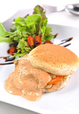 hamburger and salad Stockfoto