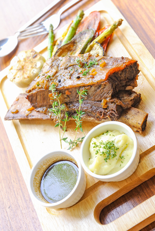 beef steak with rosemary and pepper sause Stock Photo