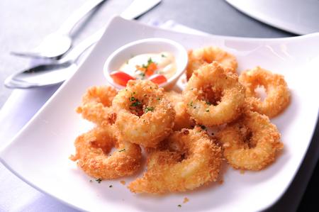 onion rings: calamari squid rings