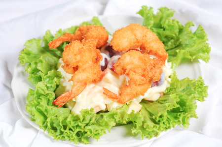 prawns fried with cream sauce Stock Photo